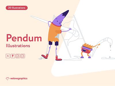 Pendum Illustrations bundle graduate sport painting website figma pack illustrations illustrator illustration vector class school lesson education