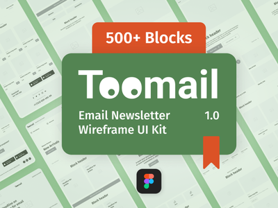 Toomail - Email Newsletter Wireframe UI Kit prototyping prototype blocks figma template figma email template email marketing email design wireframe design wireframe kit ui newsletter wireframe email