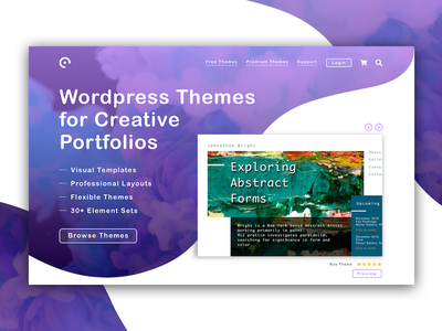 Creative Portfolio's Start Page color gradients home page start page templates themes wordpress