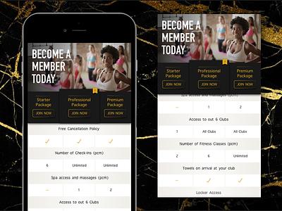 Mobile Package Comparison Design web desgin table design mobile