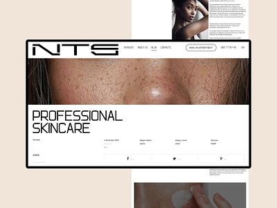 NTS skincare. Article page ui  ux ui design uidesign uiux desktop site web design ux ui clean minimal