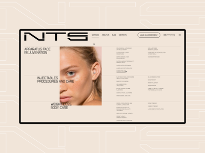 NTS skincare. Services page services ui design uidesign ui  ux uiux typography desktop site web design ux ui clean minimal