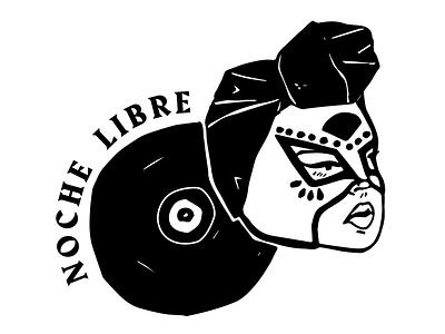Noche Libre mexican block printing latinx femme illustration logo
