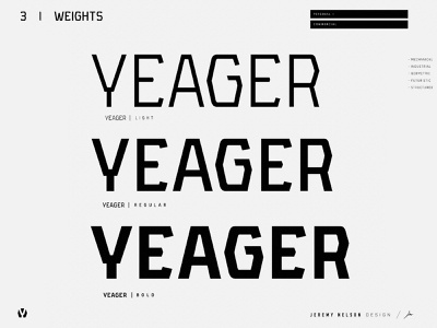 Yeager | FREE Font | Weight Scale branding design branding sci-fi military font font family sports font athletic font industrial font geometric font design resource free font type daily typedesign typeface type font design