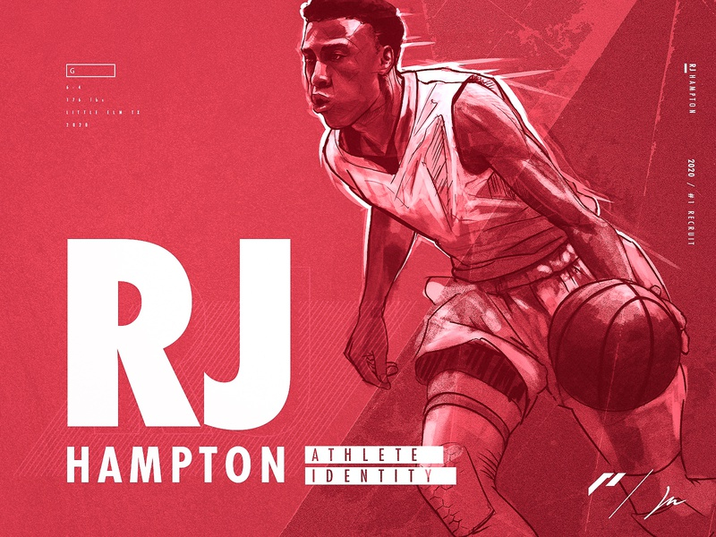 RJ Hampton | Athlete Brand Identity | Project Brief + Sketching bass monogram emblem sketch logodesign sports graphics basketball typography athletics design illustration logo identity sports logo sports design branding