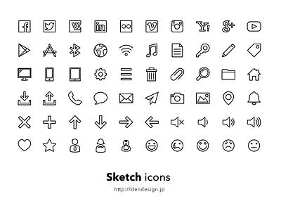 Sketch Icons line free vector sketch icon