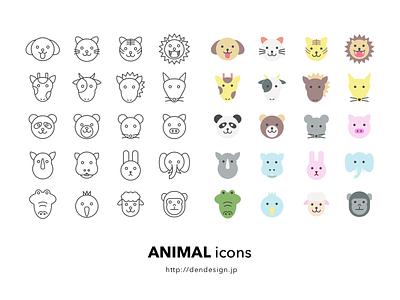 Animal Sketh Icons outline color sketch icon animal