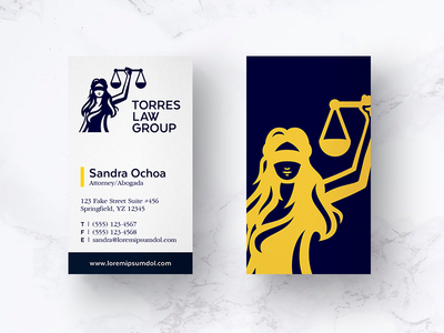 Law Business Card lady justice print media business card firm law branding logo
