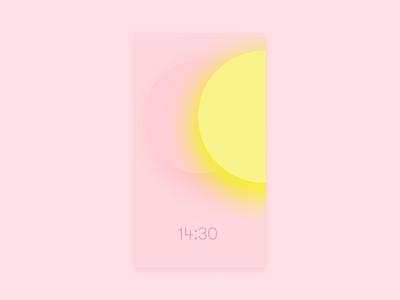 Clock App materialdesign uiux smart home ambient branding design app uidesign material design material sunset sunrise minimalist clock app clock tonal gradients ui design ui mobile