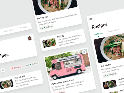 Recipes App design uiux ux maps discovery food browsing ordering delivery recipe materialdesign flutter app development flutter material cards mobile ui app design design system design systems