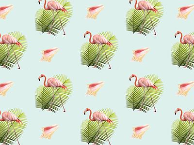 Flamingo Pattern flamingo pattern palm leaf conch shell caribbean photos
