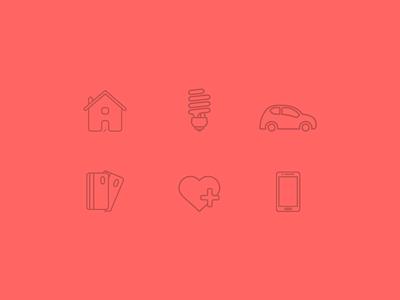 Bill Guru Icons icons thin stroke monostroke house car lightbulb credit card health mobile illustrations app ui