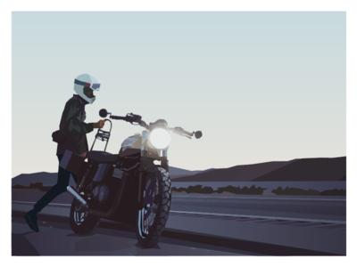 No béziers 'round here. shapes desert sunset motorcycle triumph bezier illustration