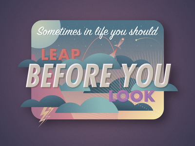 Leap before you look day night vector gradient retro scene space type illustration