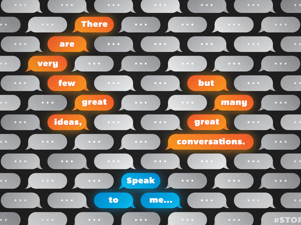 Many great conversations illustration text quote