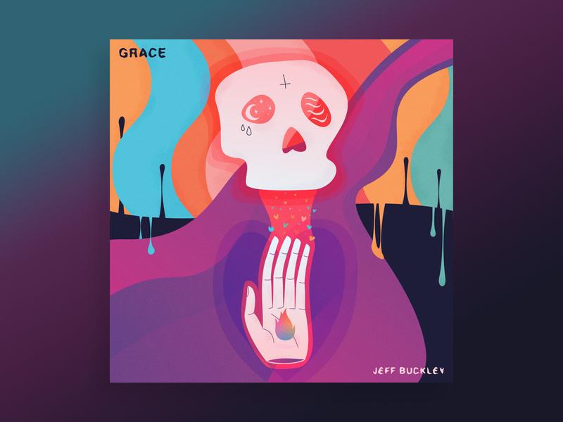 Jeff Buckley - Grace grace mojo pin wine album cover album art drugs skull death vector illustration
