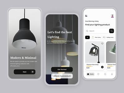 Lighting Store App Concept aamamun.xyz aamamunxyz aamamun hridoy mamun apptemplate design fresh design mobile ui uiuxdesign feed sphash login home ecommercestore ecommerce lightingstore lightstore