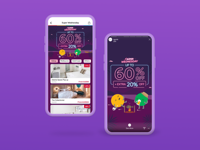 Campaign - Super Wednesday promotions super wednesday app homepage app banner ux ui logo campaign social media design branding agoda