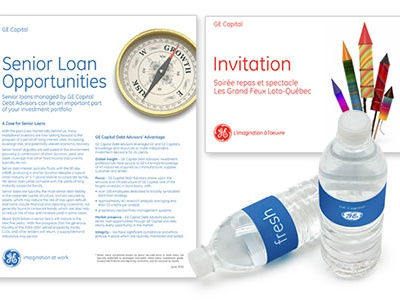 GE Capital - direct mail, sell sheet direct mail brand management print design sales sheets promotional