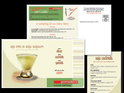 Pomodoro - Promotional and cocktail menu postcard design menu direct mail brand