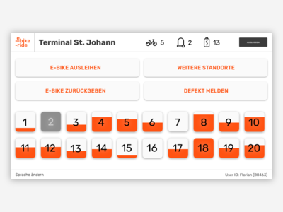 E-Bike-Ride – Terminal terminal type logo interface bike rent concept bike e-bike