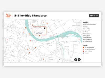 E-Bike-Ride – Map interactive map map type logo interface bike rent concept bike e-bike