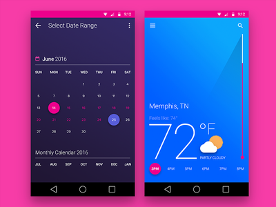 Climate  flat ui climate android mobile material app