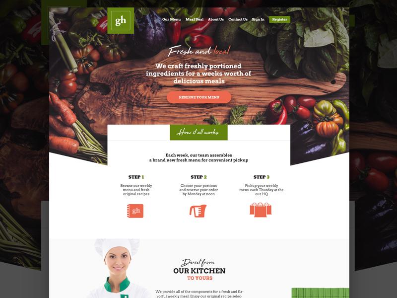 Custom Meal Site layout webdesign site ui bold grocery website