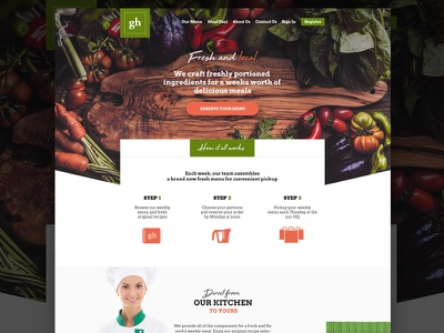 Custom Meal Site layout webdesign site ui bold grocery website