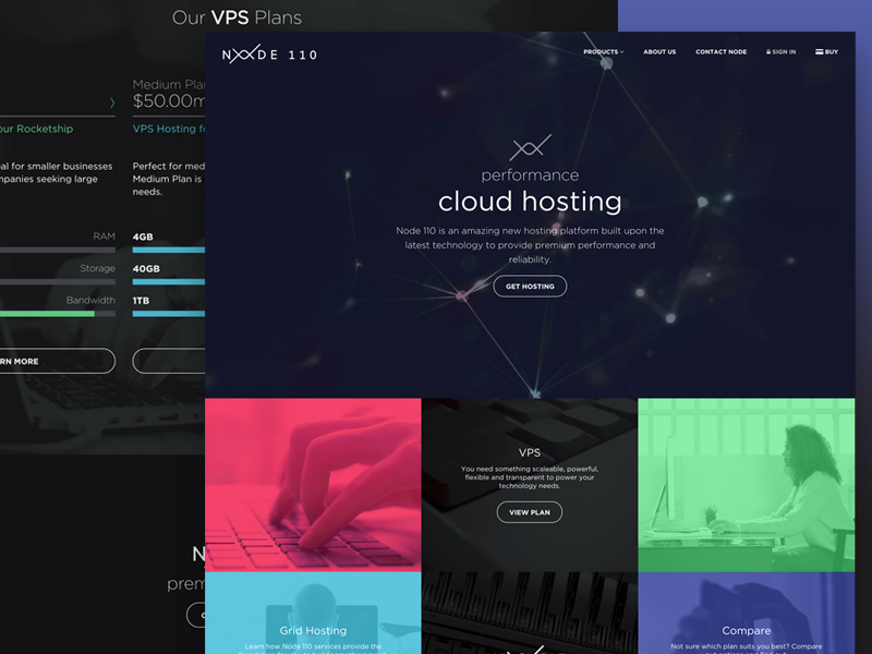 Node 110 dark site design ui interface web hosting landing