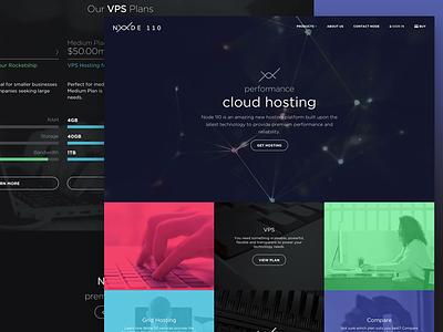 Node 110 dark site design ui interface web hosting landing