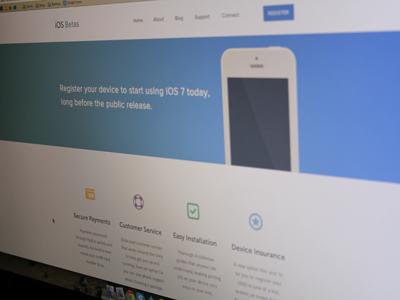 Homepage ios betas ios betas web website flat iphone ipad tablet phone app homepage
