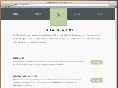The Laboratory html5 css3 jquery nav font web web design resposive design lab batch about
