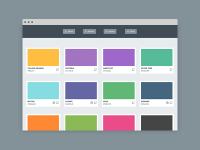 Hexbook — Public Library of Colors feather icons html5 css javascript website web design responsive php hexcode color palette icons