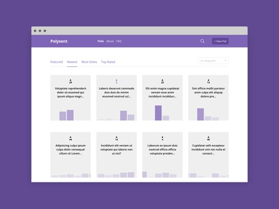 Polysent - Poll Maker mongodb grid purple nodejs expressjs mean stack angular poll maker vote polls poll web app