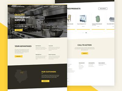 Restaurant Supply — Homepage lato restaurant brown yellow homepage web design website web