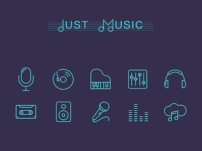 Music Icons icons ui music piano music icon earphone mic tape cloud