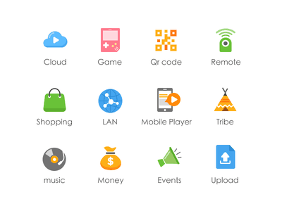 Redesign the icon V2 icon tribe lan player ui app cloud net music money bag game
