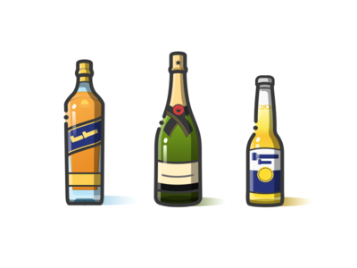 Blue Label&Moet Chandon&Corona icon bottle wine beer whisky champagne