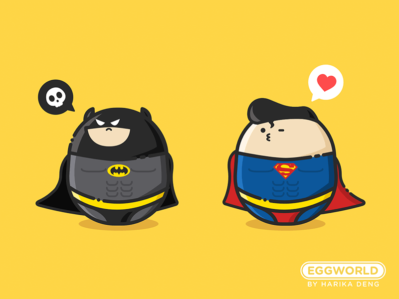 #EggWorld# Batman & Superman character edward yellow illustrator cartoon superman batman world egg