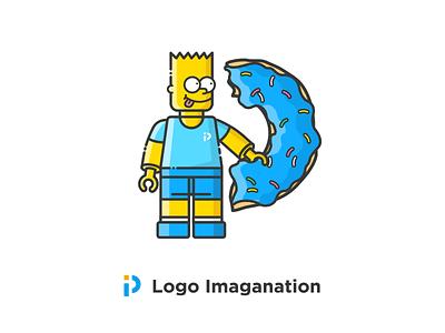 Logo Imaganation design pptv blue doughnut simpsons the p logo