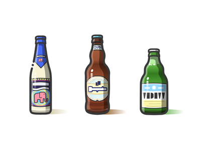 Delirium&Hoegaarde&Vedett delirium hoegaarde vedett illustration line beer wine bottle icon