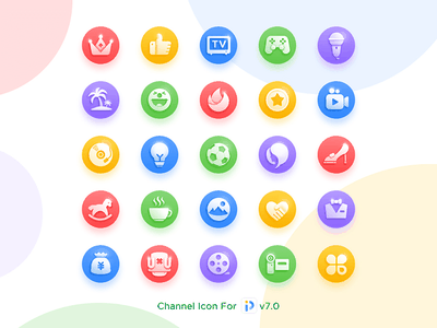 Channel Icon For v7.0 cartoon game sports movie channel app color ui icon