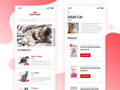 Royal Canin Page Redesign Practice x iphone app mobile ui food pet cat
