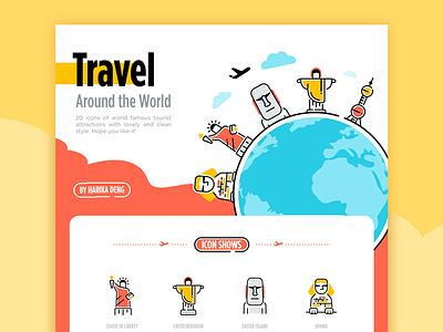 World Tourist Attractions Icon Design mockup ppt travel color icon attractions tourist