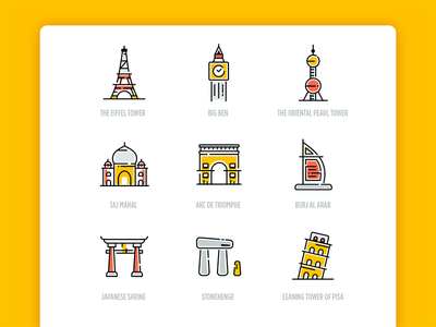 Icon Shows Part 2 mockup ppt travel color icon attractions tourist