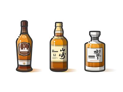 Glenfiddich&Yamazaki&HIBIKI line illustration whisky wine bottle icon