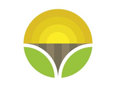Organic Farm Logo sharp leaves colourful circle sun soil field leaf organic farm