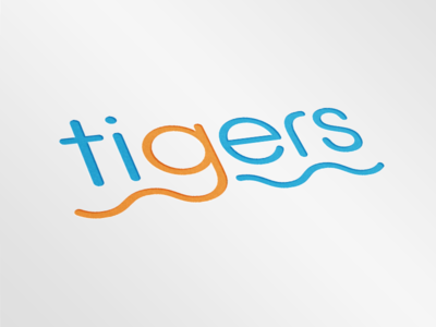 Tigers Swimming Club Logo Mockup lines squiggle rounded waves water sports club logo mockup tigers swimming