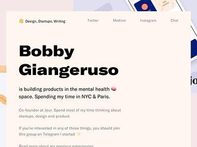 Personal site redesign illustration branding portfolio design